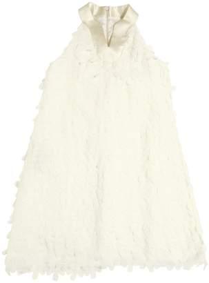 La Stupenderia Georgette Dress W/ Floral Appliqués