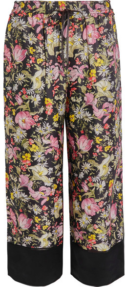3.1 Phillip Lim 3.1 Phillip Lim - Meadow Flower Cropped Printed Silk-twill Wide-leg Pants - Black