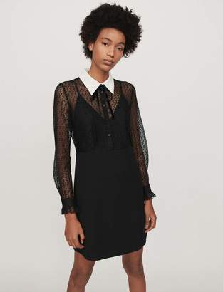 Maje Contrast-collar guipure and crepe dress
