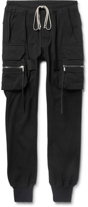 Rick Owens Slim-Fit Tapered Cotton-Jersey Cargo Sweatpants $920 thestylecure.com