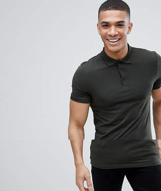 Asos DESIGN jersey muscle fit polo in green