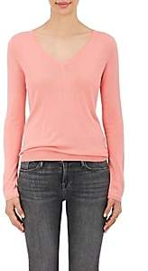 Barneys New York Women's Silk-Cashmere V-Neck Sweater - Coral