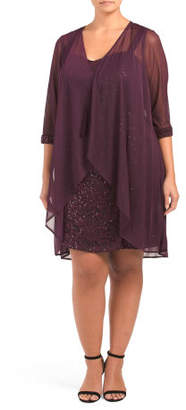 Plus Embroidered Sequins And Lace Dress And Jacket