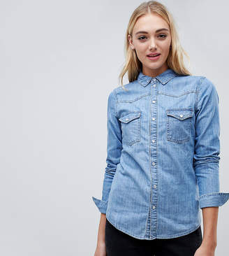 Asos Tall DESIGN Tall denim fitted western shirt in midwash blue