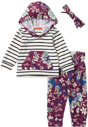 Funkyberry Black Stripe Purple Floral Hoodie 3-Piece Set (Baby Girls)