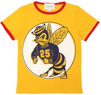 Gucci Bee Printed Cotton Jersey T-Shirt
