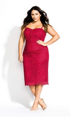 City Chic Citychic Strappy Lace Dress - raspberry