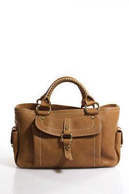 CelineCeline Brown Leather Gold Accent Small Satchel Handbag