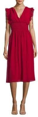 Max Studio V-Neck Ruffle Fit-&-Flare Dress