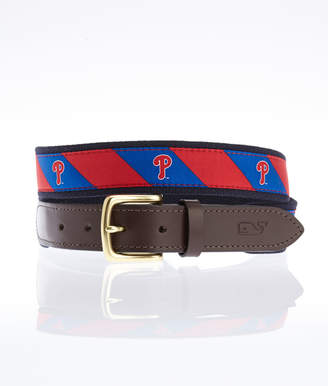 Vineyard Vines Phillies P Stripe Canvas Club Belt