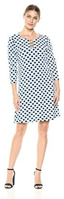 MSK Women's 3/4th Sleeve T-Shirt Dress with Three Ring Neck Detailing