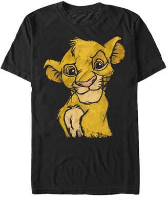 Simba Disney Men Lion King Young Smiling Portrait Sketch Short Sleeve T-Shirt