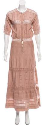 Ulla Johnson Lace-Accented Short Sleeve Dress