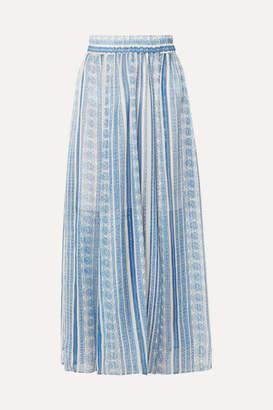 Philosophy di Lorenzo Serafini Printed Silk-blend Gauze Midi Skirt - Blue