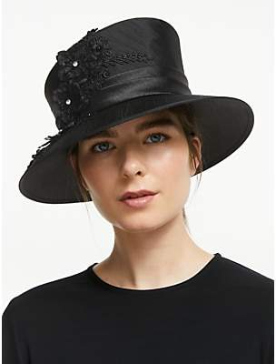 781dd7945 John Lewis & Partners Chelsea Flower Applique Occasion Hat, Black