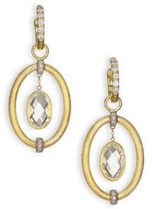 Jude Frances Classic White Topaz, Diamond& 18K Yellow Gold Oval Link Earring Charms