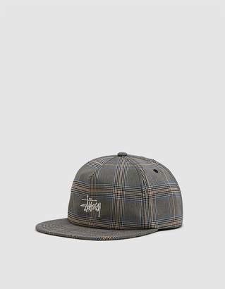 Stussy Glen Plaid Cap in Tan