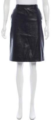 Salvatore Ferragamo Leather Knee-Length Skirt