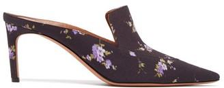 Altuzarra Davidson Floral Print Silk Mules - Womens - Black Multi
