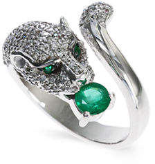 Effy 14K White Gold 0.77Ct. T.W. Diamond and 0.39Ct. Emerald Ring