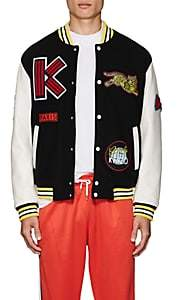 Kenzo Men's Logo-Patch Wool-Blend Melton Varsity Jacket - Black