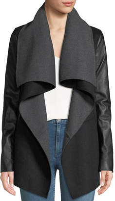 Mackage Vane Wool Coat w/ Leather Sleeves