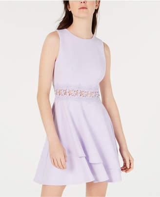 0e114b19f B. Darlin Juniors' Double-Ruffle Crochet-Waist Fit & Flare Dress