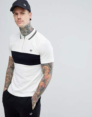 Fred Perry Textured Panel Zip Neck Polo In Off White