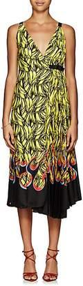 Prada Women's Pleated Banana- & Flame-Print Wrap Dress - Yellow