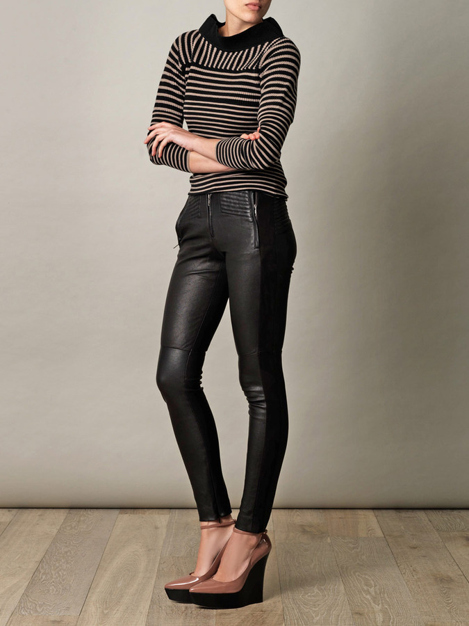 A.L.C. Panelled Hedon leather trousers