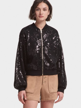 DKNY Sequined Bomber Jacket With Balloon Sleeve
