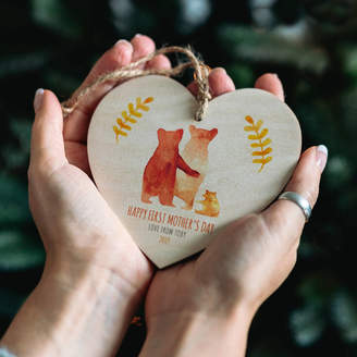 The Drifting Bear Co First Mother's Day Bear Family Heart Decoration