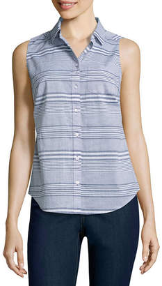 ST. JOHN'S BAY Relaxed Fit Sleeveless Scroll Button-Front Shirt