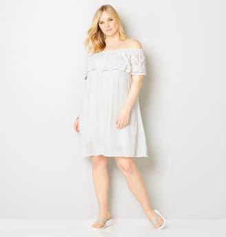 Avenue White Ruffle Eyelet Trim A-Line Dress