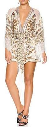 Camilla Printed Silk Kimono w/ Lace