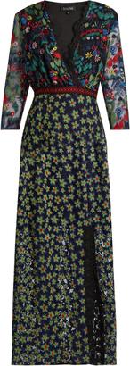 SALONI Jennifer floral-embroidered tulle dress $676 thestylecure.com