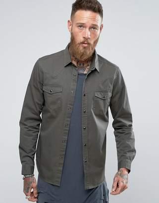 Asos Regular Fit Western Denim Shirt In Khaki
