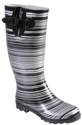 Journee Collection Womens Striped Rubber Rainboots