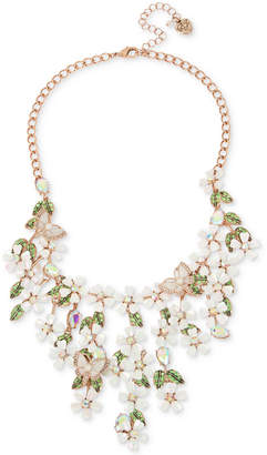 "Betsey Johnson Rose Gold-Tone Multi-Stone Flower & Butterfly Statement Necklace, 15-1/2"" + 3"" extender"