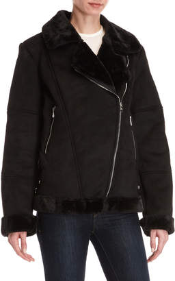 Steve Madden Faux Fur-Trimmed Moto Jacket