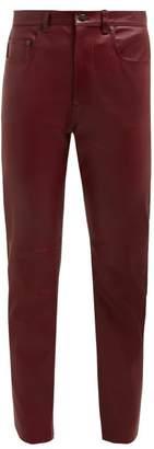 Joseph Kemp Leather Slim Leg Trousers - Womens - Burgundy