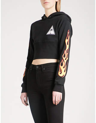 Palm Angels Palms and Flames cotton-jersey hoody