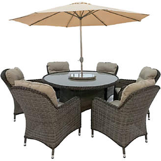 LG Electronics Outdoor Marseille 6 Seater Garden Dining Table and Chairs Set with Parasol, Natural