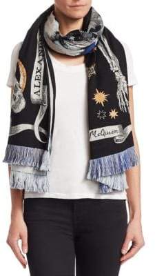 Alexander McQueen Skull Nighttime Oversized Embroidered Scarf