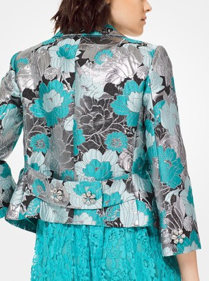 Michael Kors Floral Brocade Cropped Jacket