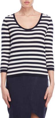 Lamberto Losani Striped Scoop Neck Sweater