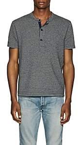RRL Men's Striped Cotton Short-Sleeve Henley-Blue