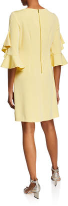 Neiman Marcus 3/4-Ruffle-Sleeve Shift Dress
