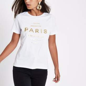 River Island Petite white 'Paris' embroidered T-shirt