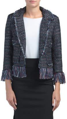 Single Button Tweed Jacket With Fringe